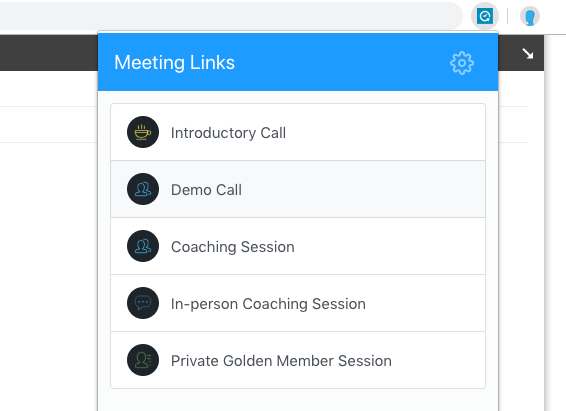 Selecting your meeting link