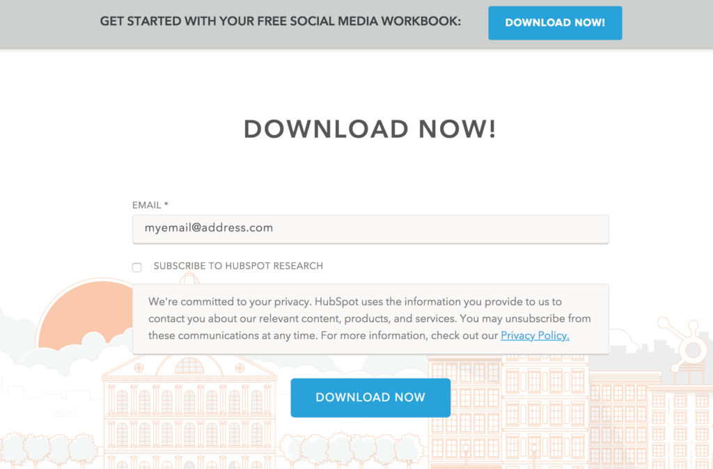 Hubspot email capture example