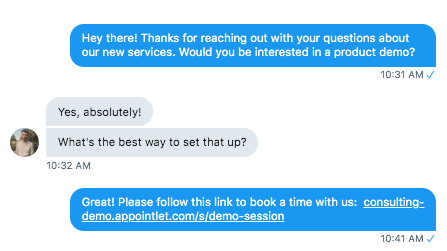 meeting request on social media chat