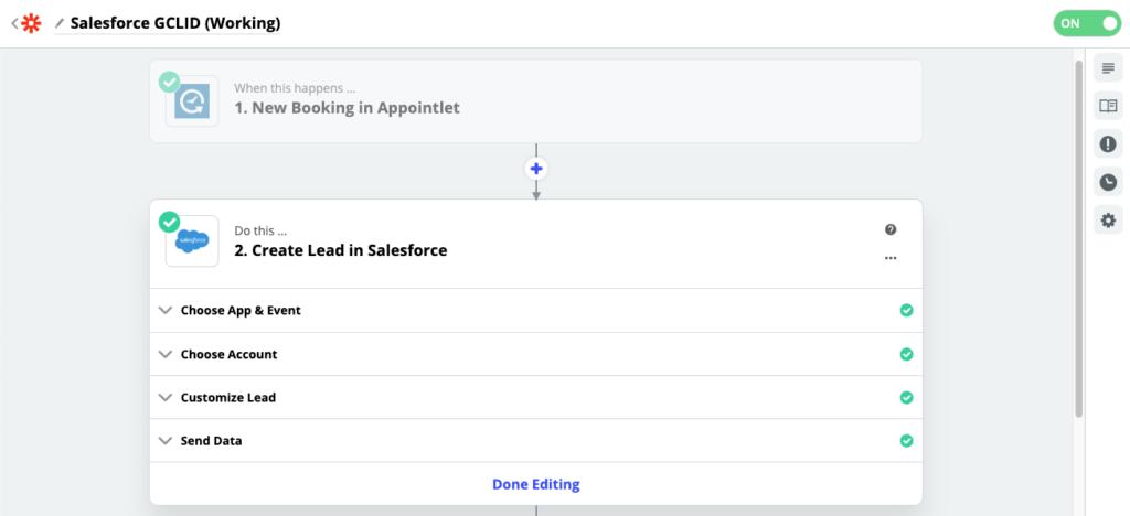 zapier - appointlet to salesforce