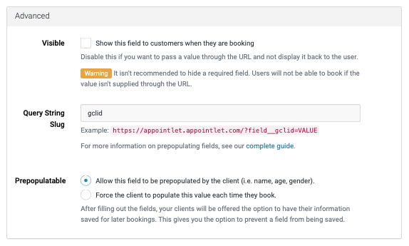 Custom click id form field in Appointlet