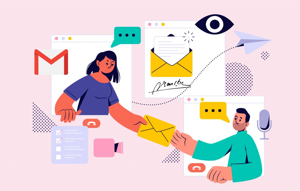 Illustration of people exchanging emails