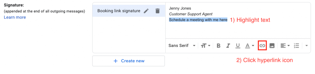 Add your gmail signature with a scheduling link