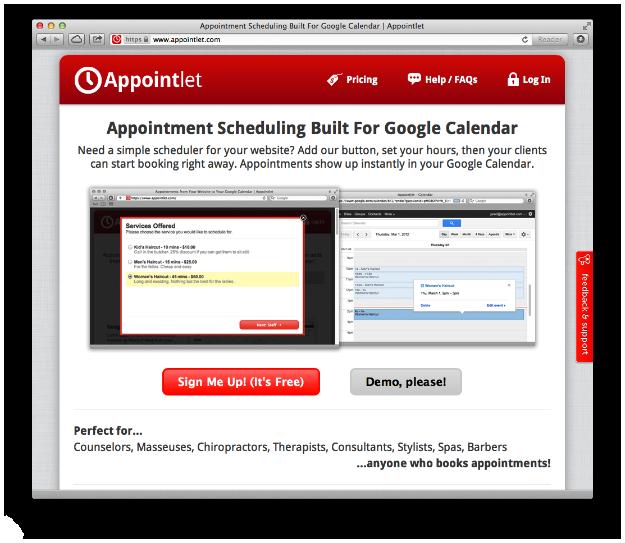 Original Appointlet webpage